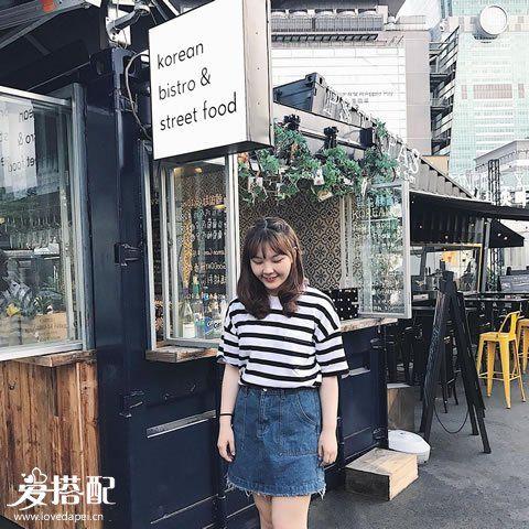 Oversized上衣+牛仔短裙